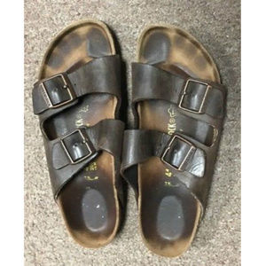 Birkenstock Sandals Brown Leather Slip On